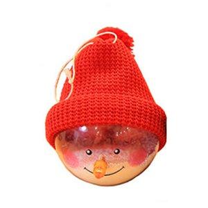 Red Hat Noel ağacı kolye Süsleme Red ile Noel Kardan Adam Topu Plastik Şeffaf Kardan Adam Doll Yuvarlak Top