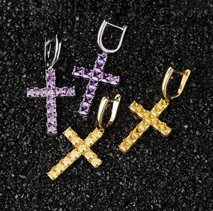 1 пара Casual Cross Shape падение серьги Micro Pave Кубический циркон серьги Мужчины Женщины Фиолетовый Золото Серебро Желтые цвета крест серьги падения