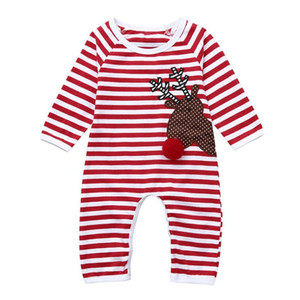 Christmas Clothes Toddler Infant Baby Boys Girls Long Sleeve Striped Deer Printed Jumpsuit Romper Clothes Baby Romper