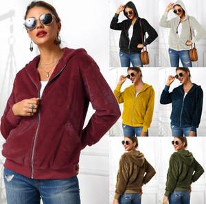 Kadınlar Peluş Kapşonlu Kapüşonlular 9 Renkler Uzun Kollu Fermuar Cep Hırka Triko Dış Giyim Açık Kazak Kızlar Ceket OOA7405-1