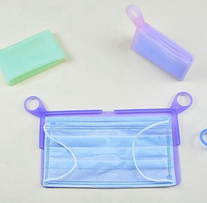 Silikon Yüz Depolama Klipler Yeniden kullanılabilir Maske Tutucu Organizatör Vaka Katlanabilir maskeleri Taşınabilir Depolama Kutusu Carry Maske LJJK2366