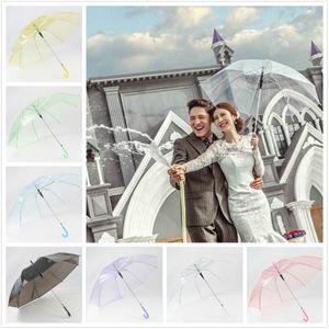 7 couleurs parapluie transparent parapluie de PVC pour des performances de danse décoration de mariage parapluies long manche parapluie photo des accessoires