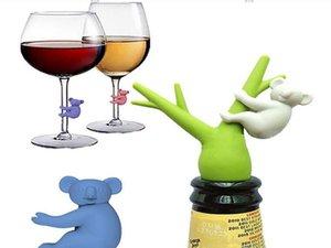 Koala Copa reconocedor de la copa de vino Copa de silicona Identificador Etiquetas Partido copa de vino de la etiqueta Dedicado 6pcs / set