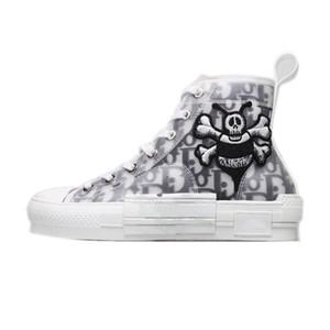20SS b21 b22 b23 Oblique High Low Top Sneakers Plattform Technisches Leder Blumen Technische Außenfreizeitschuhe Weinlese