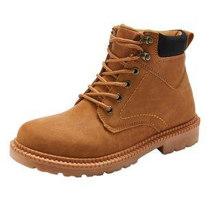 SAGACE Platformu Lace Up Boots Dış Mekan PU Düşük topuklu Prim ayakkabı erkekler Kış Retro Boots