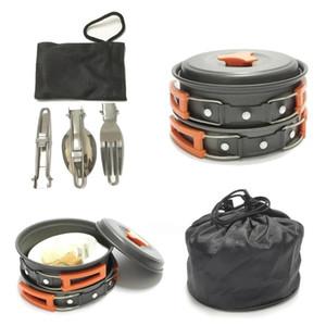 12pcs Camping Cookware Set Outdoor Picnic Pot frittura Kit Camping BBQ Pentole con coperchio per cottura facendo un'escursione il picnic