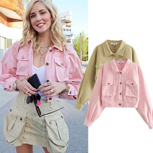 Europe And America Fashion Blogger Pocket Loose-Fit Jeans Coat Autumn Clothing New Style Single-Breasted Jacket