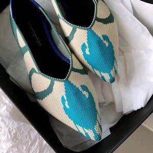 Frauen-Ebene Spitzschuh Herbst Frühling Stretch Strick Mokassins Breath Cozy Arbeitsschuhe Fashion Damen Wohnungen Driving Loafers