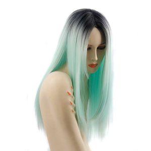 여자를위한 긴 길이 합성 가발 Ombre 그린 스트레이트 가발 재고 있음 내열성 섬유 코스튬 가발