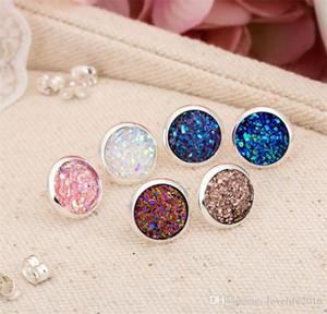 Yeni El Yapımı Moda Druzy Damızlık Küpe Kadınlar Kız Moda Basit Küpe Yuvarlak Doğal Taş Kristal Kulak Takı B245