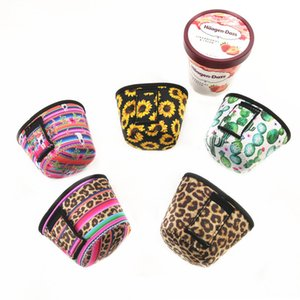 Néoprène Ice Cream Housse Leopard, tournesol, Cactus Imprimer Can Cooler Covers Ice Cream Holder Outils Pouch