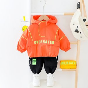 Kids Letter Clothes Infant Baby Boys Girls Hooded Sport Suits Spring Fall Fluorescence Suit Boy Clothes Safe Girl Tracksuit Y200525