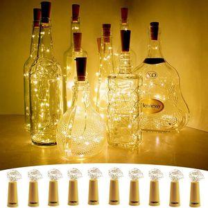 Бутылка огни Xmas / партия украшения Корк форма для 1 м 10 LED бутылка вина строка партия Корк формы серебряная проволока звездная строка атмосфера свет