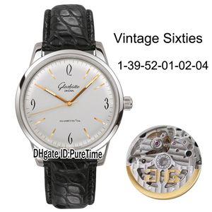 Best Edition Glashutte Spezimatic Vintage Sixties 1-39-52-01-02-04 Cassa in acciaio quadrante argento Miyota 821A Orologi automatici da uomo in pelle
