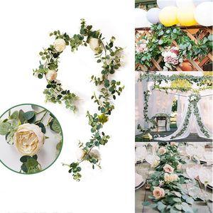 Artificial eucalipto vid de la flor con Rose Peony Wisteria flor de Rattan hojas de seda de simulación para la decoración del partido de jardín Inicio