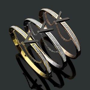 2020 designer titanium steel jewelry black V-shaped hanging chain mud diamond bracelet women's simple V Bracelet