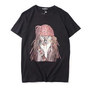 2019 New Summer Couple Dress Maré Pirata Elvis de manga curta das mulheres soltas de gola redonda dos homens de algodão T-shirt