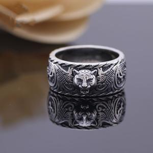 خمر 925 الفضة الاسترليني عصابة النمر الأسود رئيس الرجال والنساء من الأزواج زوج من الفضة التايلاندية القديمة خاتم من الفضة الاسترليني نمر عصابة الرأس