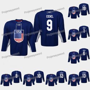 USA Jack Eichel 2019 IIHF World Championship Jersey Jack Hughes Adam Fox Derek Ryan Alex DeBrincat Chris Kreider Dylan Larkin Ryan Suter