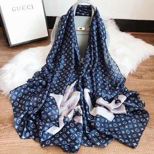 Мода шарфы для женщин Распечатать шелковый шарф Женского 180x90cm длинной шали Бандан для головы Больших Hijab Шарфов Для дашь
