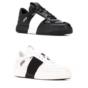 Les meilleurs Calfskin VL7N Sneaker Nouveau Hommes Femmes Stripe Goujons en cuir véritable chaussures plates Casual Low Top lacées Formateurs confortables avec la boîte