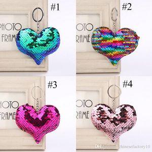 4 colores corazón llavero brillo sirena lentejuelas llavero regalos para bebé encantos bolsa de coche llavero fiesta