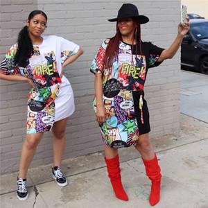 Mulheres Designer Vestidos Moda fogo Impresso Casual Batwing vestidos de manga Womens Bainha acima do joelho tripulação Vestidos Pescoço