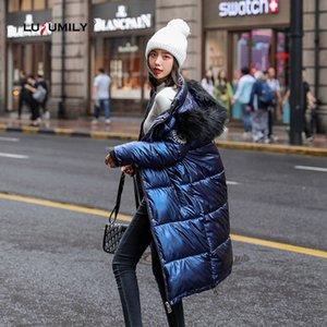 Lusumily Big Fur Женщины Длинные пальто вниз ветровки Женский глянцевый зима теплая сгущает пальто Silver пуховик Водонепроницаемый Верхняя одежда