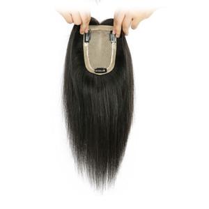Capelli umani 100% seta Toppers base 9 * 14 cm diritta brasiliana vergine dei capelli parrucchino per le donne naturale colore marrone scuro