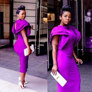 South African Dubai Jewel Neck Purple Prom Cocktail Dress Sheath Tea Length Nigerian Formal Evening Gowns Prom Dresses For Club Party Wear