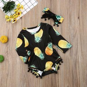 US STOCK DE Kleinkind-Baby-Ananas-langärmlige Overall-Spielanzug-Stirnband-Kleidung 2PCS