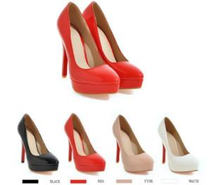 Mulheres designer de moda sapatos de fundo vermelho de salto alto 12 cm Apricot preto branco vermelho Couro Dedos Apontados Bombas vestido sapato