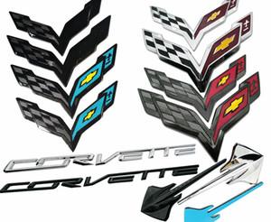 2014-2019 C7 Corvette GM Carbon Flash Nero Blu Chrome Lettera emblema distintivo Kit anteriore Paraurti posteriore attraversato bandiere Stingray