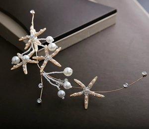 ins fashion bridal headdress golden starfish photo jewelry headband earrings suit wedding dress wedding hair accessories