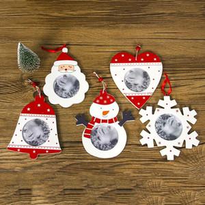 1PC صور عيد الميلاد شجرة إطار الصورة خشبية سانتا كلوز تعليق الزينة الإطار DIY صور