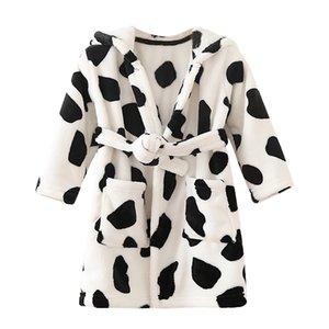 Toddler Baby Boys Girls Leopard Print Thick Bathrobe Warm Flannel Cotton Soft Light Bathrobe Comfortable Night-robe Pajamas 2019