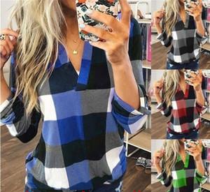 Donna Coreana Plaid T-shirt Camicie con scollo a V maniche lunghe Lattice magliette camicetta supera per dimensioni signore vestiti di maternità Tees Più