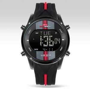 KT Mens-Sport-Digital-LED-Uhren mit Silikon-Bügel-Mann-Armbanduhr-wasserdichten leuchtenden 2 Time Watch Relogio Masculino