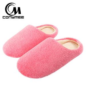CONYMEE 2018 pattini degli appartamenti delle donne Pantofole Terlik morbido velluto Donna Inverno scarpe Zapatos Mujer grande formato caldo Furry Slipper Rosa