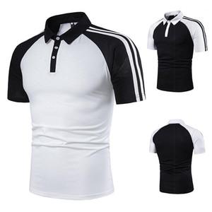폴로 셔츠 남성 패션 스트라이프 패치 워크 폴로 단색 짧은 소매 캐주얼 폴로 남성 의류 디자이너
