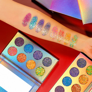 Оптовая Водонепроницаемый 8 Цвет неоновый Luminous Eyeshadow Блеск Палитры Glow в Dark Алмазные Блестящая Shimmer Макияж Тени для век Eye Shadow Palette