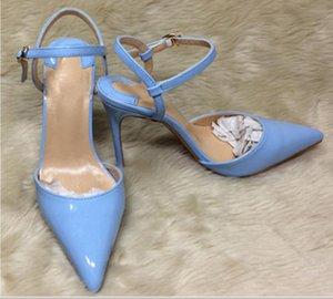 neue Nude Sandals Damen Schuhe mit hohen Absätzen Cusp Fine Heel Single Schuhe 10cm Big Code 44 4 Farben Nachtclub Kleid Bankett roten unteren Schuhe