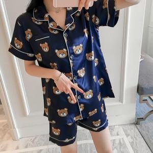 Печать 2018 года Лето WAVMIT с коротким рукавом шелковая пижама Set Two Pieces Набор женщин Sleepwear Sexy сорочек для женщин спального гарнитура Y200107