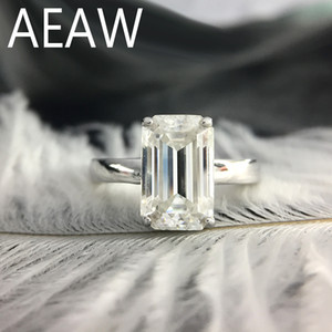 18K Kaplama Gümüş S200117 3 karat ct 7x11mm DF Sınıf Emerald Cut EngagementWedding Moissanite Baget Lab elmas halka