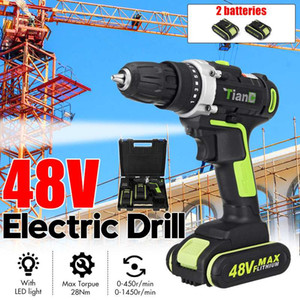 48V 2 Speed Cordless Drill Electric Screwdriver Mini Wireless Power Driver With 1 2pcs DC Lithium-Ion Battery