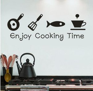 Cartoon Enjoy Kitchen Time Background Wall Art PVC Stickers Home Cooking Room Living Sticker Mural Decoration Decals Kitchen Porck