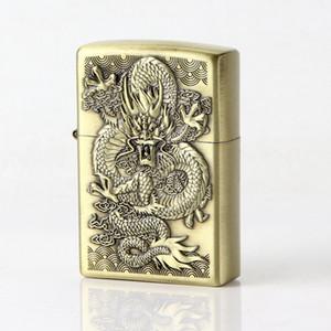 Kérosène Briquet de secours Dragon de bronze allume-cigare d'huile en métal lisse Meule cadeau pour homme sans carburant