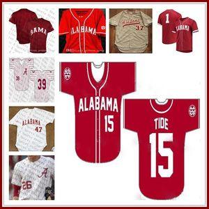 Homens personalizado Alabama Crimson Tide NCAA Baseball 40 Jimmy Nelson 16 Alex Avila 1 Mikey Branco 9 Cody Henry 26 Jett Manning Sewn Jerseys