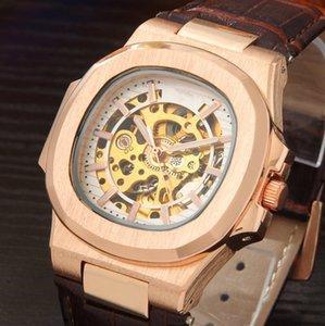 Подарочная коробка часы из телячьей кожи мужские часы автоматические наручные часы механические часы старинные квадратные старинные мужские платья наручные часы