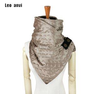 Leo anvi новая мода echarpe hiver femme Dots печать кольцо шарф полиэстер хлопок шарф женщины с пуговицами кожаный дизайн шарф T200407
